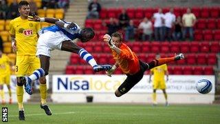 Gregory Tade scores for St Johnstone against Eskihirspor
