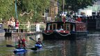 Club runner Paris Walker took to the water on a barge at Camden Lock.