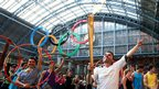 Daniel McCubbin at the St Pancras Olympic rings.
