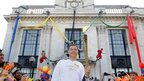 Comedian David Walliams took the flame.