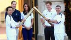 Torchbearers Wai-Ming Lee (left) and John Hulse (right) perform the torch 'kiss' in front of the Duke & Duchess of Cambridge and Prince Harry
