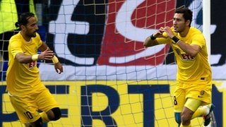 Veysel Sari celebrates after scoring for Eskisehirspor against St Johnstone