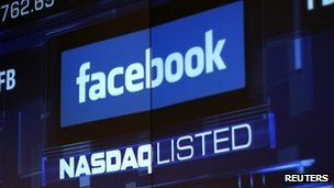 Facebook logo on Nasdaq board