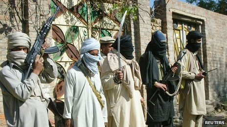 Supporters of Maulana Fazlullah stand guard near Mingora - 2007 file photo