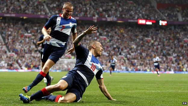 Craig Bellamy celebrates scoring for Team GB