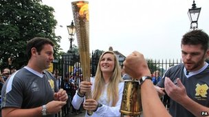 The Olympic torch in Bushy Park, west London