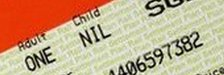 Rail ticket. a bank note and a coin
