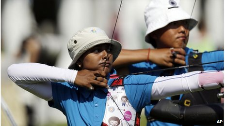 "India""s Deepika Kumari, left, Tarundeep Rai aim for their targets during training at the 2012 Summer Olympics, Wednesday, July 25, 2012, in London"