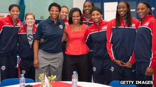 First Lady Michelle Obama meets members of the 2012 Team USA at the University of East London