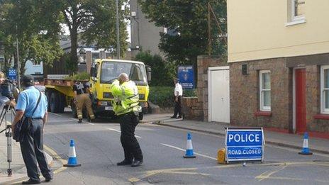 Crash outside police station