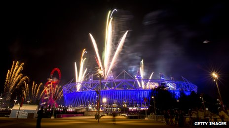 Fireworks over Olympics stadium after dress rehearsal for opening ceremony
