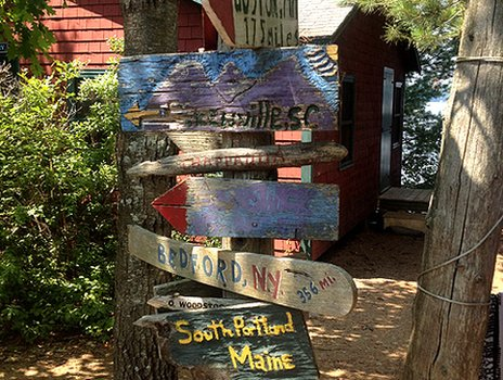 Signposts inside Pine Island summer camp