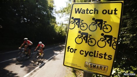 Cyclists take part in a training session on Box Hill in Surrey