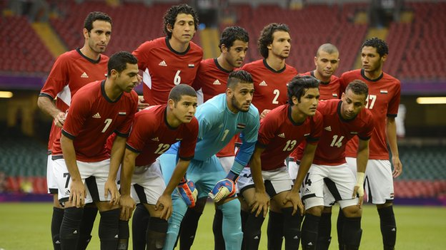 Egypt&#039;s 2012 Olympic team line up before their opening clash against Brazil on Thursday