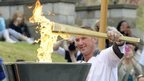 Sir Matthew Pinsent lights the flame