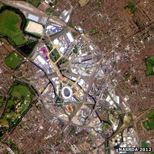 Satellite view of the Olympic Park