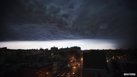 A storm cloud passed over Brooklyn, New York 26 July 2012