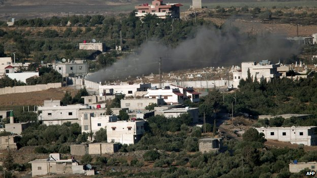 "Pic by AFP; BBC: ""The shelling of villages by Syrian forces can be seen from parts of the Israeli-occupied Golan Heights"""