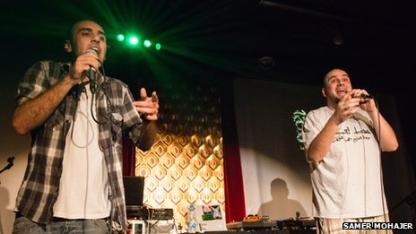 Members of rap group LaTlateh perform in Beirut