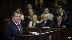 Incoming Serbian Prime Minister Ivica Dacic addresses parliament in Belgrade, 26 July