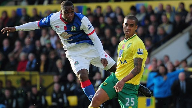 Junior Hoilett scores for Blackburn v Norwich