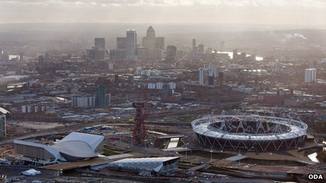 View of London and Olympic venues from above