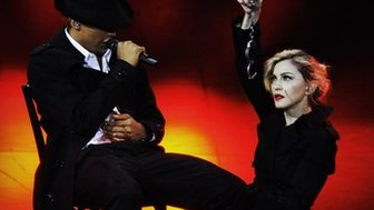 Madonna on stage in Paris with a dancer