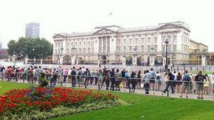 Crowds outside Buckingham Palace