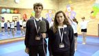 Richard and Kathryn reporting from the gymnastics class at Llantwit Major School