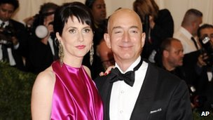 Amazon founder Jeff Bezos and his wife MacKenzie in New York City 7 May 2012