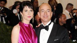 Amazon founder Jeff Bezos and his wife MacKenzie in New York City 7 May 2012