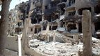 Image said to show damage in Homs on 27 July 2012, released by the Syrian opposition's Shaam News Network