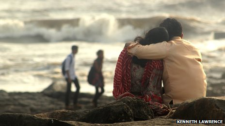 A couple embrace at a Portuguese Port at Bandra Lands End in Mumbai