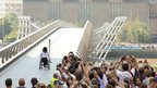 Olympian Ade Adepitan on Millennium Bridge. Photo: Matthew Dingley