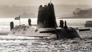 HMS Astute sailing towards Faslane