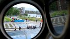 Looking out of a port hole on the Cutty Sark