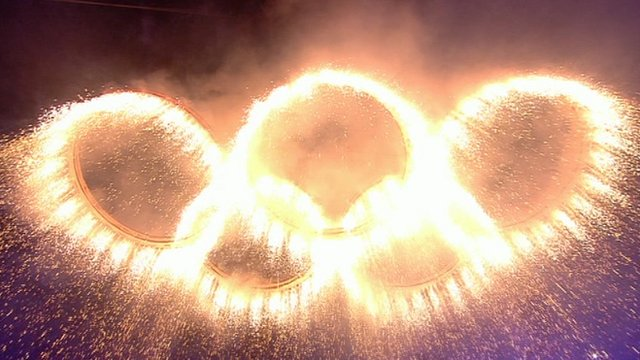 The Olympic rings at the London 2012 opening ceremonies