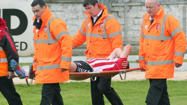 Derry's Patrick McEleney was stretchered off in the first half at the Brandywell