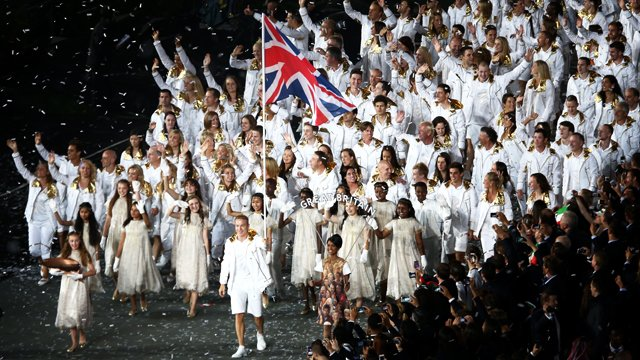 Sir Chris Hoy leads Team GB into the opening ceremony of the London 2012 Olympics