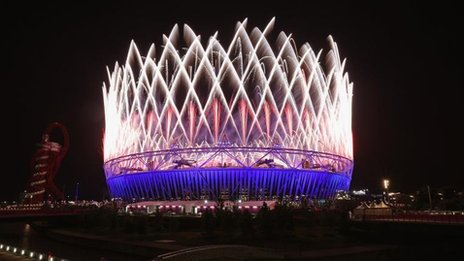 London Olympic Stadium during the opening ceremony (27 July) 