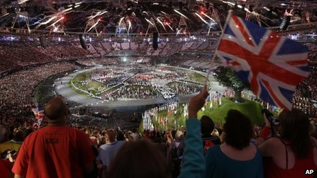Spectators watch the London 2012 Opening Ceremony at the Olympic Stadium 