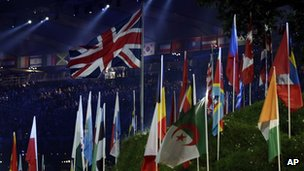 Flags on display at the London 2012 Opening Ceremony at the Olympic Stadium 