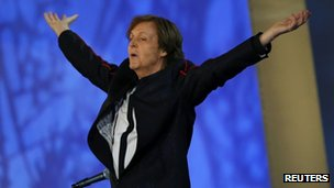 Paul McCartney at the London 2012 Opening Ceremony at the Olympic Stadium