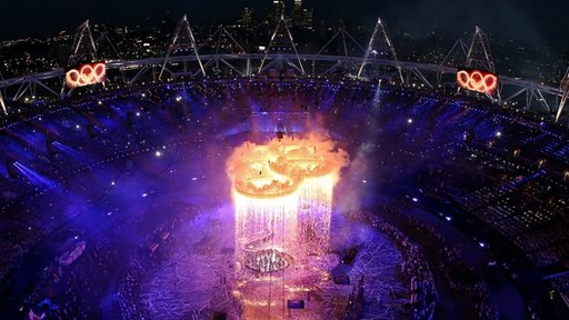 The Olympic Rings form during the Opening Ceremony of the London 2012 Olympic Games