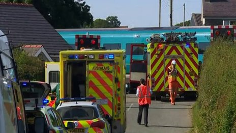 A train and a lorry collide at Whitland, Carmarthenshire