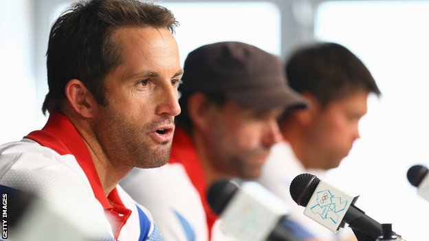 Ben Ainslie, Iain Percy and Andrew Simpson