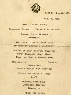 Menu from Titanic's first dinner