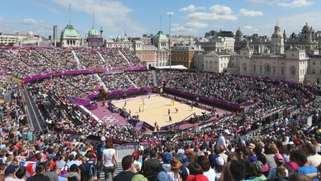 Crowds watch beach volleyball at Horse Guards Parade in London