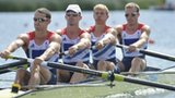 Great Britain's Peter Chambers, Rob Williams, Richard Chambers and Chris Bartley compete in the men's lightweight four heatS