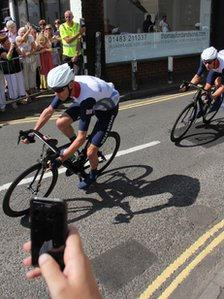 Team GB cyclists in Ripley, Surrey
